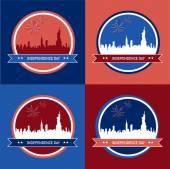 4 插图为美国独立日 — 图库矢量图片