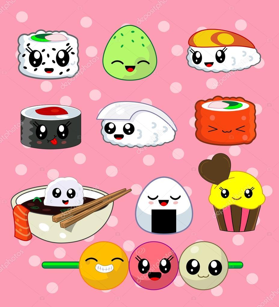 Sushi roll set. Happy sushi tekens — Stockvector ... Masago