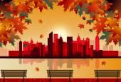 Autumn city — Stock Vector