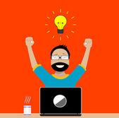 Designer enjoys success in its activities — Stock Vector