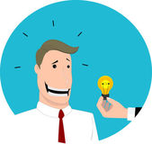 Give an idea to  businessman, flat design — Stock Vector