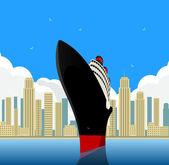 Vintage Ocean Liner — Stock Vector