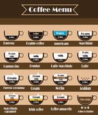 Coffee vector icon set menu. — Stock Vector