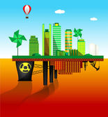 Green and polluted cities — Stock Vector