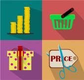 Shopping Flat icon set for Web and Mobile Application. — Stock Vector
