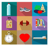 Set of flat healty life style concept icons — Stock Vector