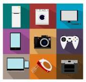 Flat modern kitchen appliances icons — Stock Vector