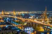 Mega Bridge Concept blurred lights — Stock Photo