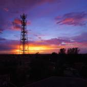 Silhouettes Telecommunication tower — Stock Photo