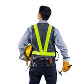 Engineer behind with overload tool — Stock Photo
