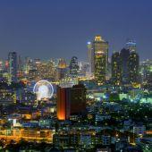 Bangkok night with Ferris Wheel. — ストック写真
