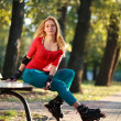 Beautiful young woman in roller skates sitting on park bench — Stock Photo #54045045