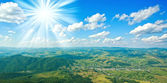 Aerial view beautiful mountain landscape and blue sky — Stock Photo
