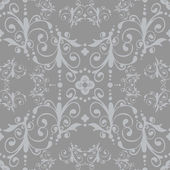 Luxury silver floral vintage seamless pattern — Stock Vector