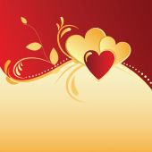 Gold & red background with hearts — Stock Vector