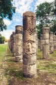 Pillars in Temple of warriors — Stock Photo