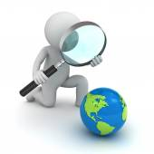 3d man holding magnifying glass and looking at blue globe map isolated over white — Stock Photo