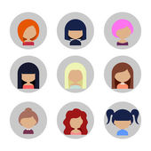 Set of Women Faces Icons in Flat Design — Stock Vector