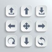 Arrows icon set - vector white app buttons — Stock Vector