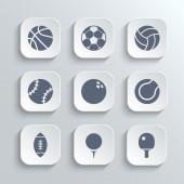 Sport balls icon set - vector white app buttons — Stock Vector