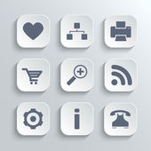 Web icons set - vector white app buttons — Stock Vector