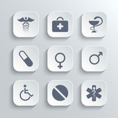 Medical icons set - vector white app buttons — Stock Vector