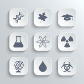 Science icons set - vector white app buttons — Stock Vector