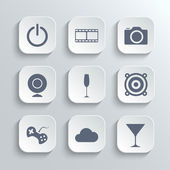 Multimedia icons set - vector white app buttons — Stockvector