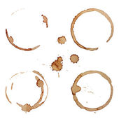 Vector Coffee Stain Rings Set — Stock Vector