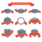 Vector vintage set of labels with ribbons — Vector de stock