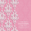 Vector Pink 3d Vintage Background for Greeting or Invitation Card with Floral Damask Pattern — Stock Vector #71265079