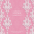 Vector Pink 3d Vintage Invitation Card with Floral Damask Pattern — Stock Vector #71265081