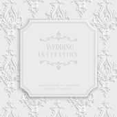 Vector 3d Vintage Invitation Card with Floral Damask Pattern — Stock Vector