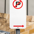 No Parking Sign with Arrow Pointing Right on City Street — Stock Photo #55942267