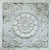 Architectural Detail Carved into Grey Marble: Scrolls and Chrysa — Stock Photo