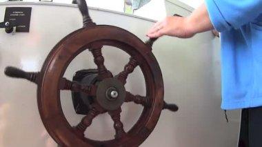 Boat Steering Wheel — Stock Video
