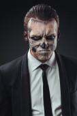 Portrait evil  businessman makeup skeleton — Stock Photo