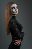 Beautiful woman with makeup skeleton — Foto Stock