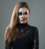 Woman with makeup skeleton grins — Foto Stock
