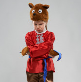red-haired girl in costume of Slavic bear — Stock Photo
