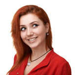 Red-haired girl having fun plotting — Stock Photo