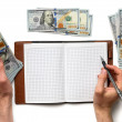 Record expenses in  notebook — Stock Photo #72520323