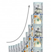 Geometric growth of profit is shown  dollars — Stock Photo