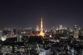Vue de dessus du paysage urbain de tokyo dans la nuit — Photo