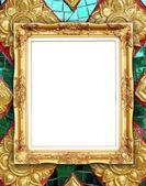 Golden frame on Thai style buddha wall — Zdjęcie stockowe
