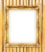 пустой золотой раме на стене красочные бамбук — Стоковое фото