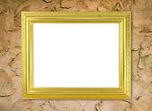 пустой золотой раме на стене цемент — Стоковое фото