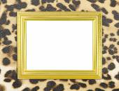 Blank golden frame with leopard texture — Stock Photo