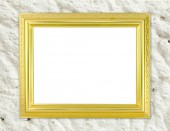 Blank golden frame on cement wall  — Stock Photo