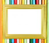 Blank golden frame on colorful bamboo wall  — Stock Photo